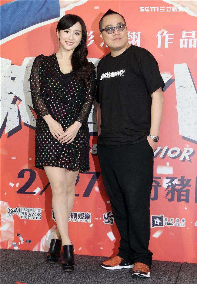 香港電影「恭喜八婆」導演彭浩翔、女主角陳靜來台宣傳。(記者邱榮吉/攝影)