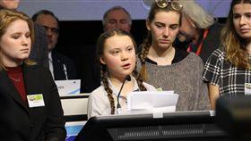 抗氣候變遷 16歲瑞典女孩批政治人物不作為今年只有16歲瑞典女孩桑柏格(發言者)關注氣候變遷議題,21日演講時批評政治人物不作為。中央社記者唐佩君布魯塞爾攝  108年2月22日
