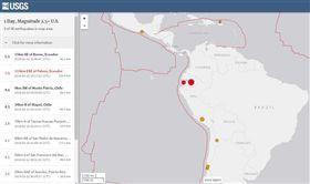 地牛翻身!厄瓜多發生規模7.5強震 尚未傳傷亡財損(圖/翻攝自美國地質調查所)