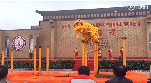 舞獅,微博,柱子,舞龍舞獅(圖/翻攝自微博)