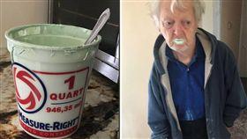 美國紐約一名90歲老翁博比(Bobby),非常喜歡吃優格,日前將誤把「油漆」當優格吃,導致滿嘴都染成薄荷綠色,所幸就醫檢查後身體無恙。博比的孫女史坦(Alex Stein)將爺爺誤食的照片po上推特,吸引60多萬人按讚,意外讓爺爺成了網紅。(圖/翻攝自推特)