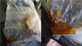 士林夜市買炸彈蔥油餅,竟咬到5元硬幣。(圖/翻攝自爆廢公社)