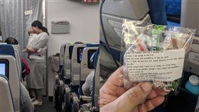 媽媽怕嬰兒吵到乘客,自行準備200份耳塞糖果發給大家。(圖/翻攝Dave Corona臉書)