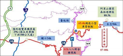 阿里山,櫻花季,疏運措施簡圖,/公路總局提供