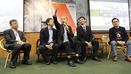 韓國瑜參訪創業聚落座談高雄市長韓國瑜27接續新加坡招商與參訪行程,圖為韓國瑜(中)赴創業聚落Block 71參觀及座談。中央社記者黃自強新加坡攝 108年2月27日