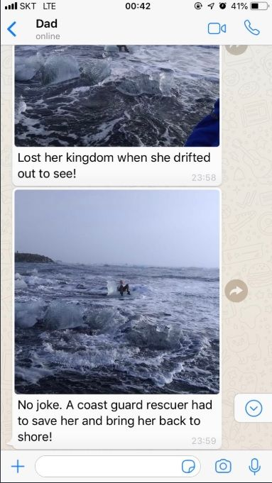 阿嬤斯特朗(Judith Streng)坐冰山寶座漂向大海/翻攝自Twitter@Xiushook