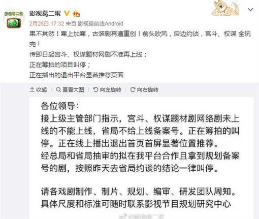 大陸禁播宮鬥/翻攝字影視葛二蛋的微博
