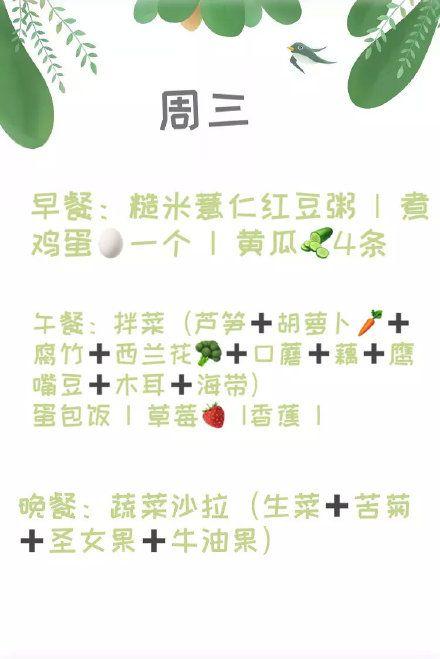 譚維維減肥食譜/翻攝自微博