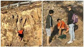 越南男子徒手攀路邊30米山壁,摔落後還起身抽菸。(圖/翻攝自Liveleak)