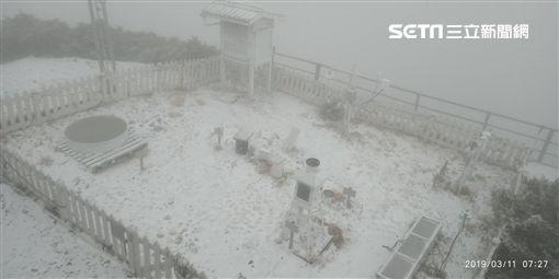 玉山再下3月雪/20190311圖翻攝畫面