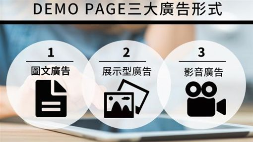 Demo Page三大廣告形式:圖文廣告、展示型廣告、影音廣告