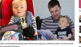 傑克森因為罹患罕見疾病,父親特地以孩子為主角寫英雄故事。(圖/翻攝自UNILAD)