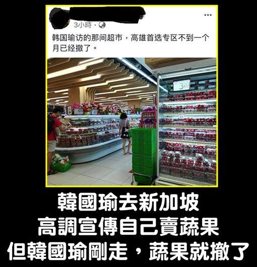 韓國瑜才返台…新加坡超市高雄專區消失了 網酸:又演戲?。(圖/取自臉書)