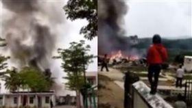 中共軍機海南失事釀2死 民眾驚吼:飛機掉下來了!(圖/翻攝自微博)