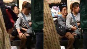 台北捷運上一對男女正在進行「深入性治療」。(圖/翻攝自爆廢公社)