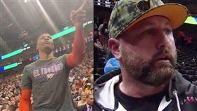 NBA/場邊嗆球迷!威少遭罰77萬 NBA,奧克拉荷馬雷霆,Russell Westbrook,猶他爵士,種族歧視 翻攝自推特