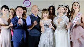 許聖梅12日高雄主持「2019全球城市小姐選拔」的總決賽記者會/高雄市長市長韓國瑜。臉書
