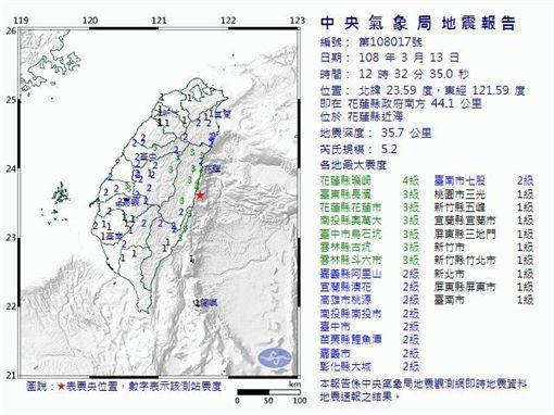 201903013 中午12點/規模5.2地震圖翻攝自中央氣象局