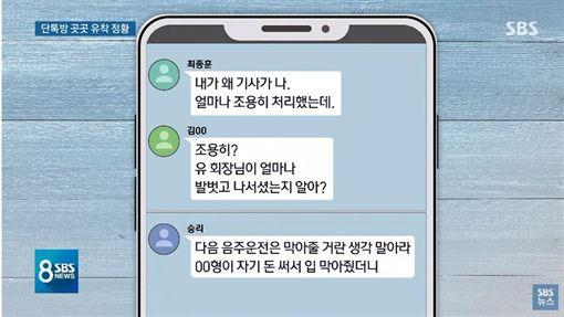 崔鍾訓酒駕群組對話曝光/翻攝自SBS NEWS YouTube