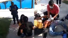 男遭女友當街狠刺!警車因「車快沒油」拒救。(圖/翻攝newsbomb網站)
