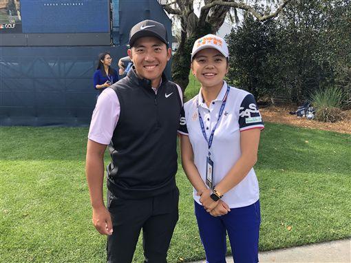 ▲台灣一姊徐薇淩(右)特地去為潘政琮加油打氣。(圖/PGA TOUR提供)