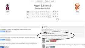 ▲洛杉磯天使與舊金山巨人熱身賽打突破僵局制。(圖/截自大聯盟官網)