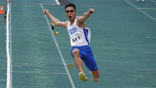 ▲何奎霖在男子跳遠金牌擦而過。(圖鄉/中華田協提供)