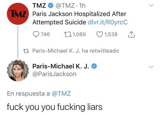 派瑞絲傑克森否認自殺/翻攝自派瑞絲傑克森推特
