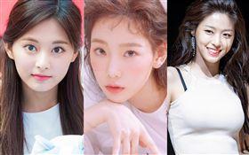 南韓網友發起「本人比照片更美」票選,結果出爐,由「少女時代」太妍奪得第一,「AOA」的雪炫第二,「TWICE」周子瑜第三。/IG