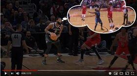 ▲活塞卓蒙德(Andre Drummond)想學哈登後撤步投三分球,結果投成麵包。(圖/翻攝自NBA on TNT)