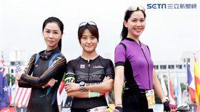 謝盈萱、海裕芬、張家慧三人於比賽終點前合照。(圖/周子娛樂提供)