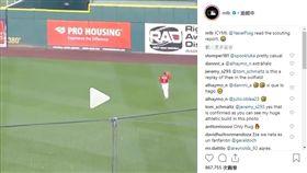▲普伊格(Yasiel Puig)原地接殺飛球影片瘋傳。(圖/翻攝自MLB IG)
