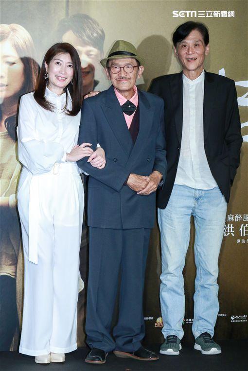 國片《老大人》首映,演員小戽斗、喜翔、黃嘉千。(圖/記者林士傑攝影)