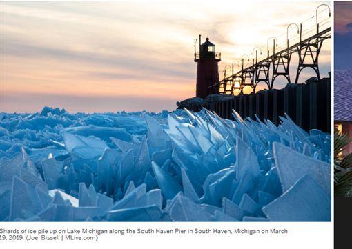 美國密西根州,碎冰,冰雪奇緣 (圖/翻攝自Mlive)