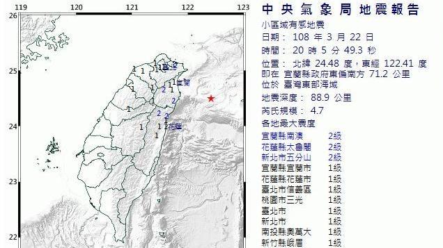 地牛翻身!20:05宜蘭地震規模4.7 最大震度2級