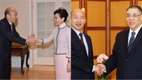 韓國瑜會見香港特首林鄭月娥及會見澳門特首崔世安組合圖
