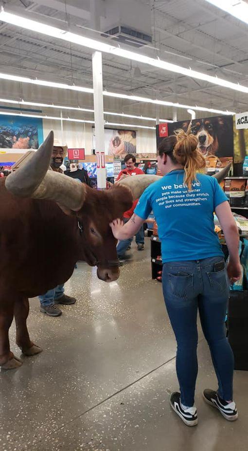 有牽繩就能進!他拉一頭725KG非洲長角牛進寵物店(圖/翻攝自Vincent Browning臉書)