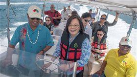 蔡英文總統23日由帛琉總統雷蒙傑索親自駕船,到尼可灣和海豚灣觀賞海豚復育成果。(圖/總統府提供)