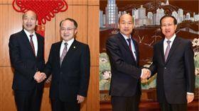 韓國瑜與香港中聯辦主任王志民,澳門中聯辦主任傅自應,組合圖