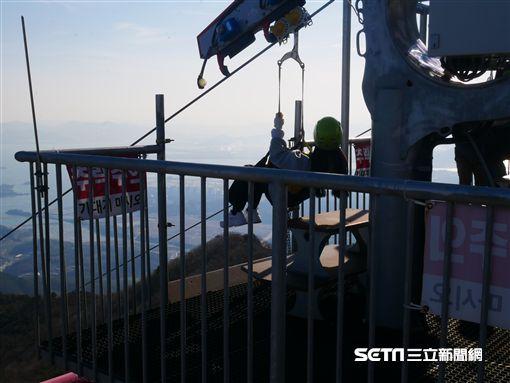 韓國, 全亞洲最高滑索,金烏山冒險高空滑索,滑索。(圖/記者馮珮汶攝)