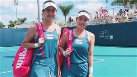 ▲詹家姊妹連續2年闖進邁阿密網賽女雙8強。(圖/劉雪貞提供)