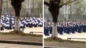 中共德政?全校學生一大早跪拜磕頭…稱是「洪揚傳統文化」(圖/翻攝自福建高校微博)
