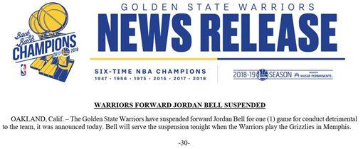 NBA/行為危害球隊!勇士將他禁賽NBA,金州勇士,Jordan Bell,禁賽翻攝自推特
