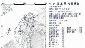宜蘭縣東偏北方發生芮氏規模4.9的地震。(圖/中央氣象局)