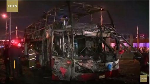 秘魯,利馬(Lima),火燒車,雙層巴士(圖/翻攝自CGTN YouTube)