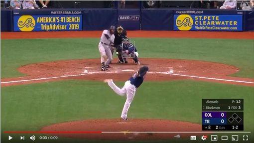 ▲光芒左投艾瓦拉多(Jose Alvarado)直球尾勁超狂。(圖/翻攝自YouTube)