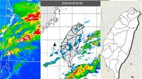 圖:今(5日)晨5時紅外線衛星雲圖顯示,微弱鋒面掠過北部海面,鬆散雲層增多(左圖)。伴隨降水回波很弱(中圖),僅帶來局部、零星、微量的飄雨,連雨量圖亦無法顯現(右圖)。