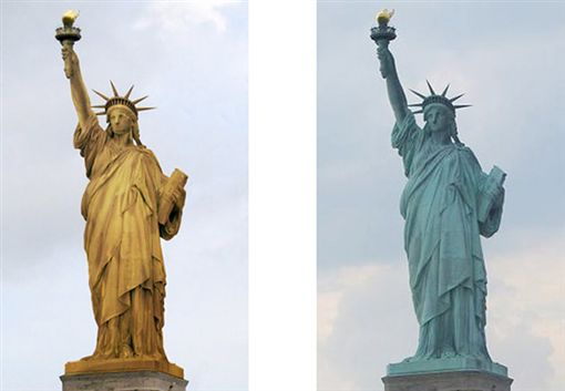 美國,自由女神,銅,氧化,藍綠色