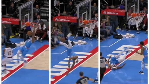 ▲布魯爾(Corey Brewer)快攻灌籃後手滑,頭部著地重摔。(圖/翻攝自House of Highlights)