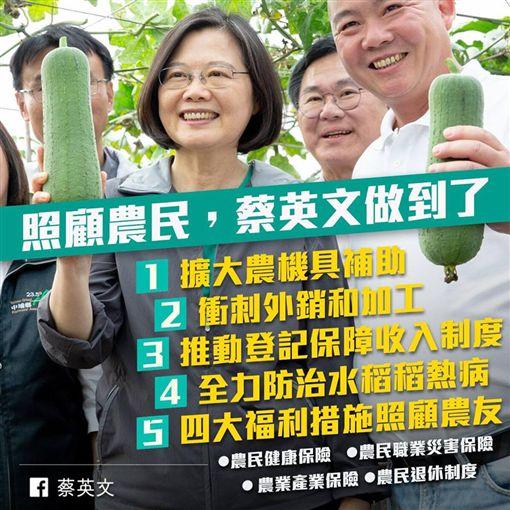 蔡英文臉書發文照顧農民